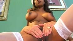 Gorgeous ebony nurse Caramel makes a white dick feel much better
