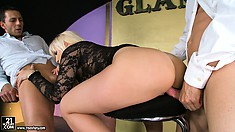 She's getting banged from behind and blows, then gets ass fucked