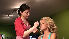 Sophie joins her brunette friend and they both get ready for another hot scene