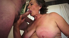 Hairy old granny is getting her twat licked, blows and gets pumped