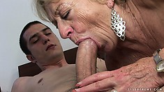 Slutty blonde granny and her young studly lover go shopping then home for sex