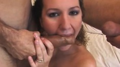 Cute and delicious chubby woman gives gentle blowjobs to lusty boys