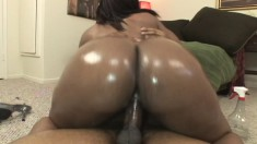 Curvy caramel hottie Flame bounces on a black stick with excitement