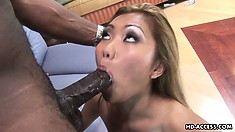 Lovely Asian hottie Lara Croft loves to take a ride on big black dicks