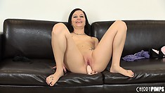 Brandi Belle sits on a huge sex toy to fill her chasm like beaver