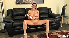 Tempted lady with gigantic tits named Abbey Brooks masses her tasty pussy