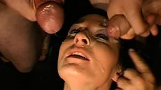 Lola is a sex crazed brunette swallowing cum, getting ass fucked and a DP
