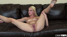 She slides her dildo into her pussy and spreads wide for another look