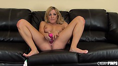 She pulls it out of her butt and toys her cunt and shows her stuff