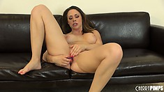 Chanel Preston bends over and shows her ass then toys her twat
