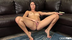 Hot brunette cutie, Anna Morna, makes a juicy mess of her pussy