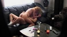 Sexy Karey gets her juicy peach eaten out and fucked hard on the couch