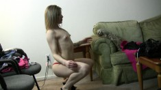 Elegant blonde teen Jessy sensually dances and reveals her hot curves