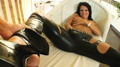Naughty brunette in latex Chloe is always eager to please a large dick