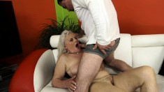 Buxom blonde mature enjoys a wild sexual experience with a young man
