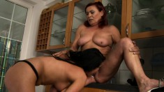 Horny Redhead Granny Invites A Hot Brunette Teen For A Lesbian Romance