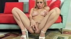 Blonde piece of ass enjoys feeling a black cock inside her cunt