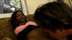 Delightful black girl gets her narrow ass ruined by a horny white guy