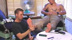 Sexy and horny foot fetishists engage in anal sex in the barber shop