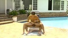 Horny young stallion experiments with fucking his buddy poolside