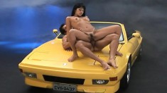 Hot Asian Yumi Saito licked and bent over a car to get drilled