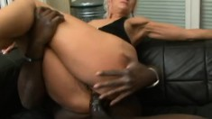 Slutty blonde granny takes every inch of a big black stick up her ass