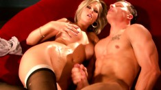 Busty blonde hottie blows Chad's meat and is humped hard and fast