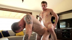 Alluring guy has a fabulous stud blowing his dick and banging his ass