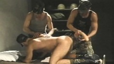 Two Kinky Soldiers Ram Huge Dildos And Their Fists In Their Willing Mate's Ass