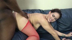 Bodacious brunette Edyn Blair knows her way around a huge black dick