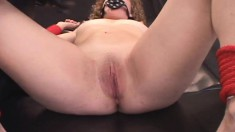 Sexy slender blonde nympho Sadie gets tied up, toyed and fucked hard