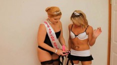Two delightful babes punishing Aaron's tight butt with strap-on toys