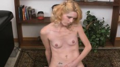 Horny blonde wife Kathy drops her sexy lingerie and rides the sybian