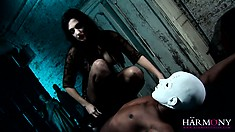 Irresistible Aletta Ocean in a kinky threesome scene with two masked freaks