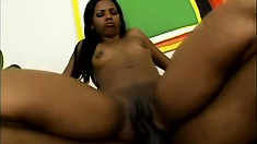 The ebony cutie relishes that taste of her juicy peach all over that big black shaft