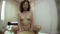 Fat japanese housewife enjoys a pity ride on a hard young dick