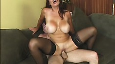 Brunette Lucky Benton rides his pecker and then he jerks it off on her tits