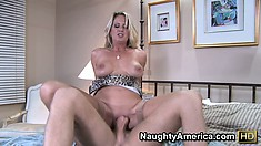 Bridgett Lee gives her lover a head start in bed with a blowjob