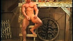 His cowboy prick is ready for masturbation in the barn's hayloft