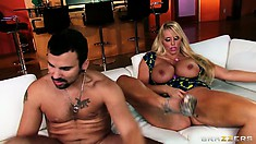 Dazzling blonde with huge tits is looking to fulfill her fantasies