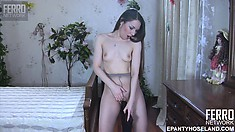 Hot brunette with tiny tits Crystal rips her pantyhose and pleases her twat with a dildo