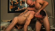 The horny police officer and his partner take turns sucking each other's dicks