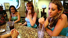Three girls and risky man do some really nasty things in toilette room