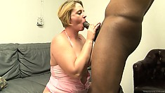 Curvy milf with huge tits and a big round ass is yearning for a black cock