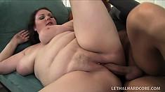 Giant BBW Joslyn Underwood gets fondled and sucks in between fucking
