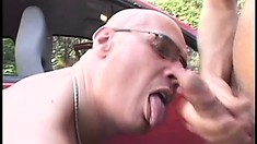 Bald dad meets up for a tryst with a gay and blows before getting nailed