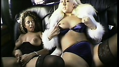 Two lucky guys get their cocks handled by a pair of lusty babes