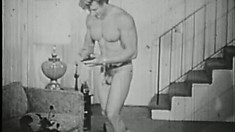Vintage black-and-white footage of intense old-timey homo fucking