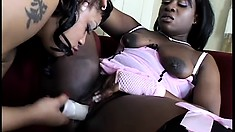 Curvaceous black babes have fun with sex toys and make each other cum really hard