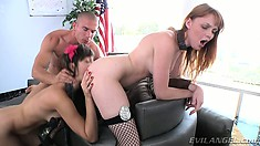 Adorable babes Holly Michaels and Marie McCray share Mick Blue's prick